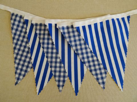 BUNTING Blue - Gingham and Stripe on White Tape - 3m/10ft, 5m/16ft or 10m/32ft